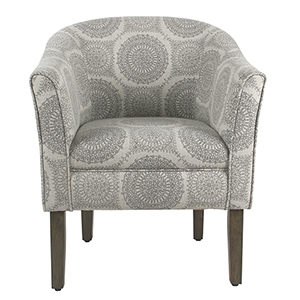 Tub Shaped Gray Medallion Accent Chair