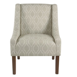 Modern Swoop Arm Accent Chair - Tan Geometric