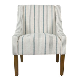 Modern Swoop Accent Chair - Blue Calypso Stripe