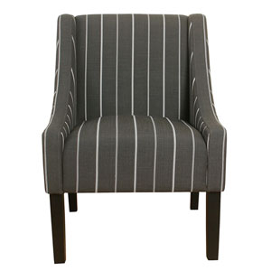 Modern Swoop Accent Chair - Charcoal Stripe