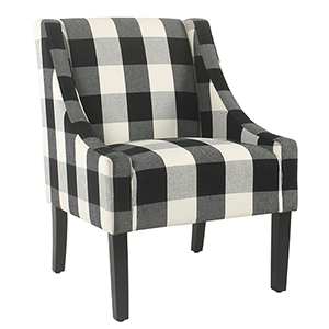 Modern Swoop Black Plaid Accent Chair