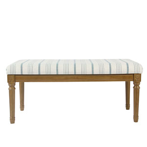 Decorative Bench with Wood Legs - Blue Calypso Stripe