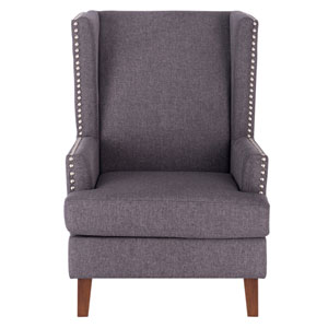Tamarisk Wingback Accent Chair with Nailhead Trim - Gray