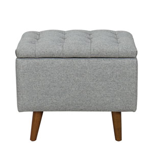 Small Storage Bench with Button Tufting - Light Gray