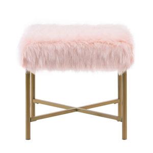 Faux Fur Square Ottoman - Pink