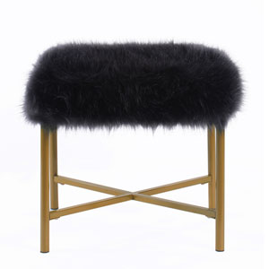 Faux Fur Square Ottoman - Black