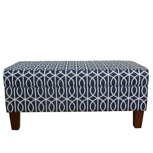 Bella Large Storage Bench - Blue Trellis