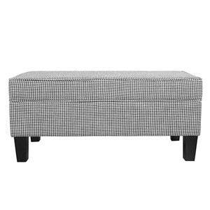 Large Storage Bench with Piping - Ebony Houndstooth