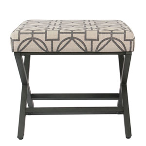 Metal Upholstered Ottoman - Grey Lattice