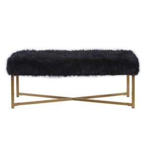 Faux Fur Rectangle Bench - Black