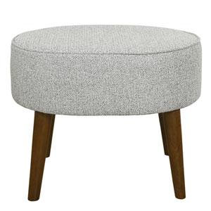 Mid Century Oval Ottoman with Wood Legs - Ash Grey