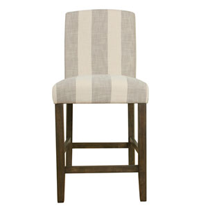 Curved Back Counter Stool - Grey Stripe