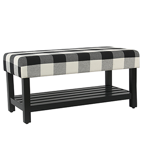 Decorative Black Plaid Bench with Wooden Storage