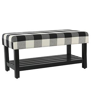 Decorative Black Plaid Bench with Wooden Storage