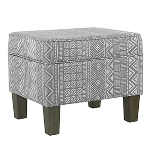 Medium Decorative Global Gray Storage Bench