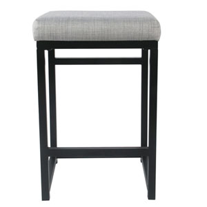 Open Back Metal Counter Stool - Light Gray