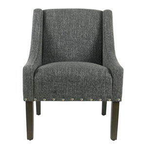 Modern Swoop Accent Chair with Nailhead Trim - Slate Grey