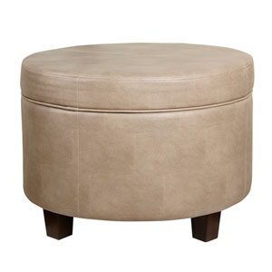 Round Faux Leather Storage Ottoman - Taupe