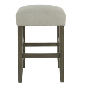24 Inch Backless Counter stool - Stain Resistant Gray Fabric