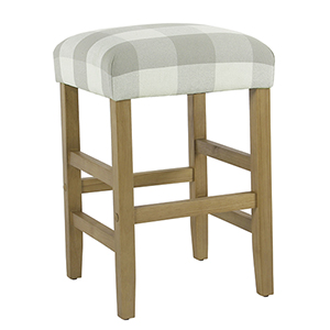 Square Gray Plaid Counter Stool
