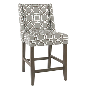 Modern Gray Lattice Counter Stool