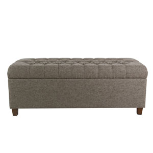 48 Inch Tufted Storage Bench - Gray