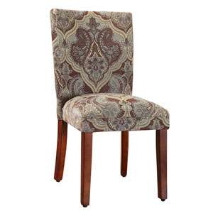 Parsons Chair, Teal and Brown Paisley Print, Set of Two