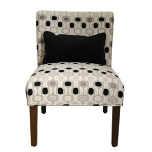 Accent Chair with Pillow, Cream Gray