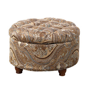 Round Storage Ottoman, Brown and Teal Paisley Print