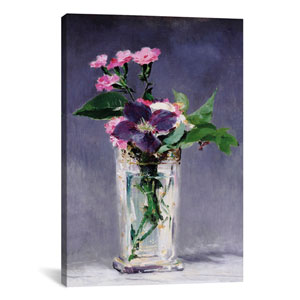 Ragged Robins and Clematis by Edouard Manet: 18 x 26-Inch Canvas Print