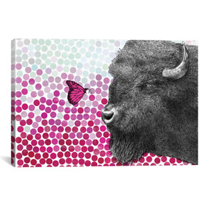 New Friends Series, Bison and Butterfly II by Eric Fan: 26 x 18-Inch Canvas Print