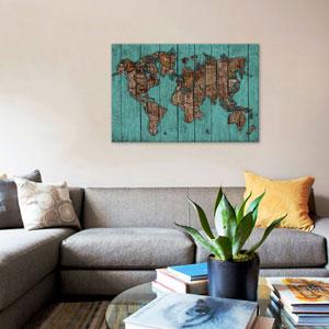 Wood Map 2 by Diego Tirigall: 40 x 26-Inch Canvas Print