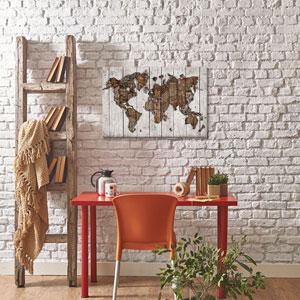 Wood Map by Diego Tirigall: 26 x 18-Inch Canvas Print