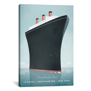 Cruise Ship by Henry Rivers: 26 x 40-Inch Canvas Print