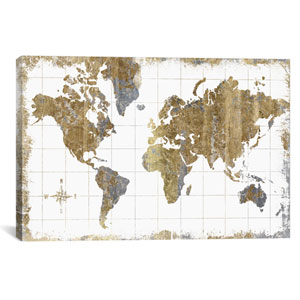 Gilded Map by All That Glitters: 26 x 18-Inch Canvas Print