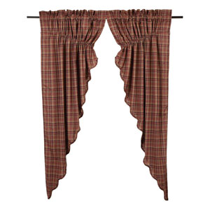 Parker Burgundy 63 x 36 x 18-Inch Prairie Curtain, Set of Two
