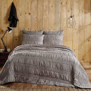 Natasha Wet Weather Grey Queen Three-Piece Quilt Set