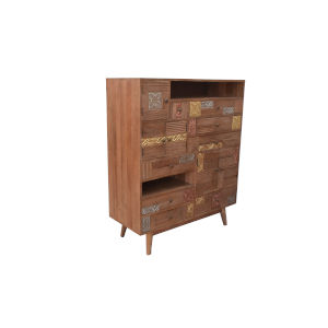 Vacation Natural Chest with Eight Drawers and Two Open Shelves