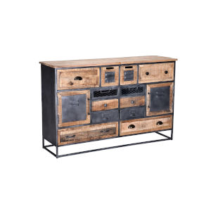 Layover Natural and Black Sideboard with Metal Base