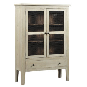 Isabella Washed Linen and Pine Display Cabinet