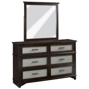 Dazzle Chocolate and Champagne Drawer Dresser with Mirror