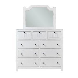 Elmhurst White Drawer Dresser and Mirror