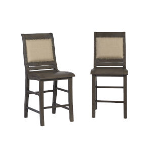 Willow Distressed Dark Gray 24-Inch Upholstered Counter Chair, Set of 2