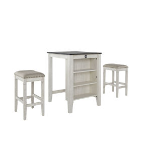 Tapas Antique White and Weathered Pepper Counter Table and Stool, 3-Piece