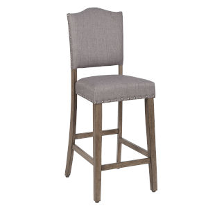 Keystone Weathered Pecan and Gray 24-Inch Upholstered Counter Chair, Set of 2