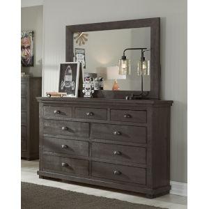 Willow Distressed Dark Gray Drawer Dresser with Mirror