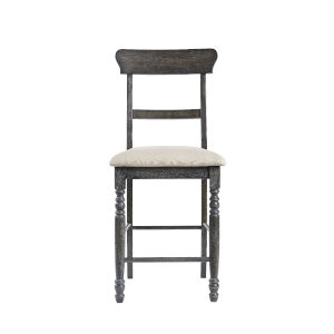 Muses Weathered Pepper Ladder Back Counter Chair, Set of 2