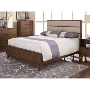 Mid-Mod Queen Upholstered Panel Complete Bed