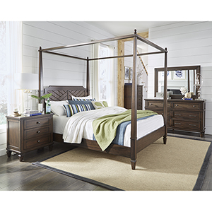 Coronado Sable Complete Queen Canopy Bed