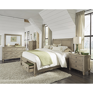 Coronado Flax Complete King Storage Bed